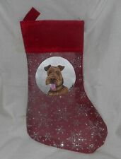 Welsh Terrier Dog Hand Painted Christmas Gift Stocking Decoration