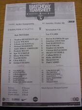 04/10/2014 Teamsheet: Charlton Athletic v Birmingham City. Thanks for taking the