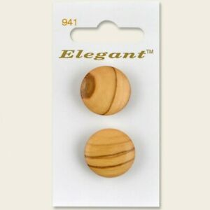 Sirdar Elegant Shank Natural Wood Domed Button Round Wooden 22mm Pack of 2