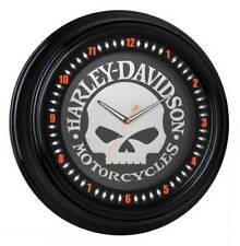 Harley-Davidson Skull Black Diamond Border Motorcylces Neon Clock HDL-16639