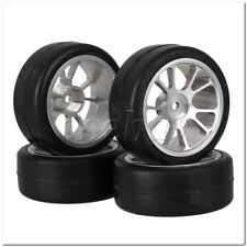 4x RC1:10 On-Road Car Smooth Rubber Tires & Aluminum 10 Spokes Wheel Rims Silver