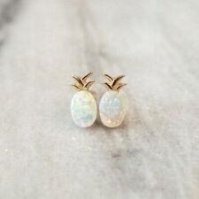 Fashion Women Gold Pineapple Opal Stone Earrings Fruit Ear Studs Dainty Earrings