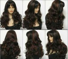 LMSW02 new long brown red mix natural hair wigs for modern women hair wig