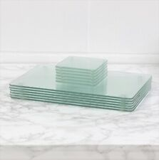 12 Clear Tempered Glass Coasters & Placemats Dining Table Mats Heat Resistant