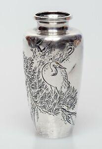Antique Miniature Silver Japanese Vase