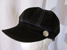 A-AUGUST Womans CABBIE NEWSBOY CAP HAT Black Cotton  W/BUTTONS