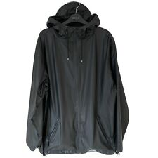 Rains Mens Jacket Black Hood Peak M/L Large Waterproof Wind Breaker