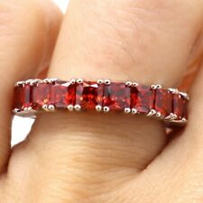 Sparkling Emerald Red Ruby Ring Women Wedding Anniversary Jewelry Sizable 6 7 8