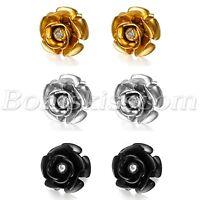 2pcs Women Charm Stainless Steel Rhinestone Camellia Piercing Studs Ear Earrings