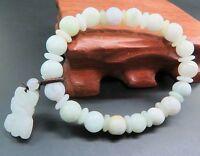 Natural Grade A Jade (jadeite) 8mm Bead Bracelet with Pixiu Charm