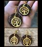 "Bodhi Tree Palm Wood Circle Enso 1"" Earrings Gold Yoga Meditation Handmade Boho"