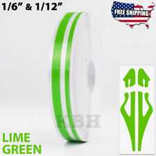"1/2"" Roll Vinyl Double Line Pinstriping Pin Stripe Tape Sticker 12mm LIME GREEN"