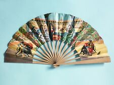 VINTAGE FLAMENCO ANDALUSIAN BULLFIGHT WOOD & PAPER PRINTED SPANISH FAN 1960'S