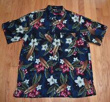 Marc Edwards Aloha Hawaiian Shirt Tropical Flowers Hibiscus Surfboard Cruise L