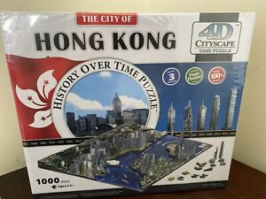 4D Cityscape Jigsaw Puzzle - Hong Kong City Map With Time Layer