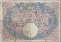 50 FRANCS BLEU ET ROSE - 30.7.1907 - Billet de banque français (B+)