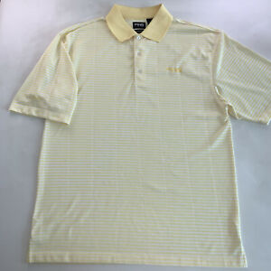Men's PING Collection Logo Polo Shirt Yellow White Striped Size Large NEW