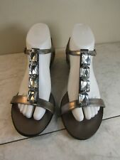 Harolds Pharaoh Leather Silver Jeweled Slingback Women's Sandal Shoes Size 8.5 M