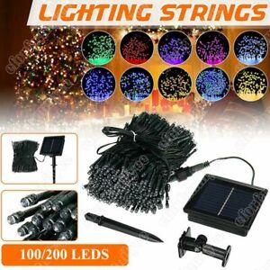 200 100 LED Solar Lichterkette Weihnachtslicht Außen Garten Party Solarkette DHL