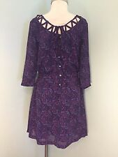 Anthropologie I love Ronson M 8 10 paisley dress blue pink career party EUC *