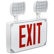 Wet Location Outdoor Led Red Exit Sign Emergency Light With Adjustable Heads
