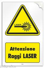 """Cartello PVC adesivo """"Attenzione Raggi Laser"""""""