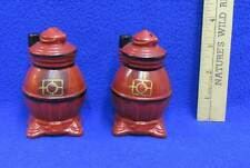 Salt and Pepper Shakers Pot Belly Wood Stoves Ceramic Pottery Vintage Pair