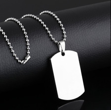 Stainless Steel Army ID Dog Tag Military Pendant Chain Silver Vouge Necklace 164