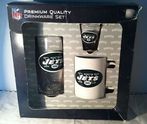 Hunter Officially Licensed New York Jets 3 Piece Drinkware Set-New In Box!