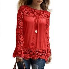 Plus Size Women Long Sleeve Casual Loose Shirt Lace Blouse Ladies Top Tees Shirt