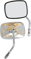 Drag Specialties 0640-0476 Chrome/Gold Live to Ride Custom Mirrors (Pair) Harley