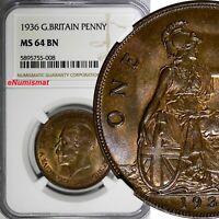 GREAT BRITAIN George V Bronze 1936 1 Penny NGC MS64 BN NICE KM# 838 (008)