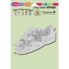 New Stampendous RUBBER STAMP cling House Mouse LEAF SLEDDING  free us ship