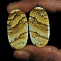 33Cts. Natural Picture Jasper pair Oval Cabochon Loose Gemstone 2Pcs Lot K282