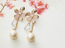 E779 Betsey Johnson Pink Pearl Daisy Flower Wedding Gown Bridal Earrings UK