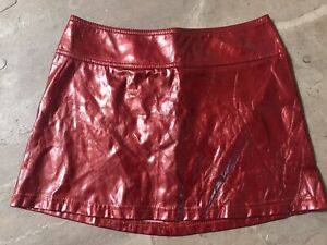 VTG Lip Service Los Angeles Red Faux Leather Mini Skirt Size S Punk Rock Goth