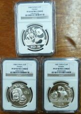 1983 1984 1985 3pcs 27g Proof China panda silver coin NGC PF69 Ultra cameo rare