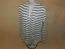 "EUC Women's ""Charlotte Russe"" M Medium Gray/Ivory Striped Sweater/Shrug"