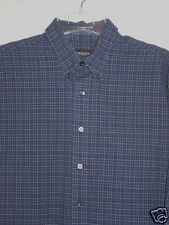 Mens Large 16 -16.5 32/33 VAN HEUSEN navy striped plaid cotton shirt XC