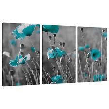 Set di 3 Blu Alzavola Verde grandi tele Wall Art STAMPA FOTO 3139
