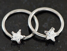 """Pair 14g 1/2"""" Prong set clear C.Z. Star Shap Captive Rings 316L Surgical Steel"""