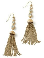 NEW! Lia Sophia DANCING QUEEN Dangle Earrings w/Cut Crystals &Gold Chain Tassels