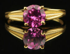 14KT Yellow Gold & Round Shape 1.60 Carat Natural Pink Tourmaline Solitaire Ring