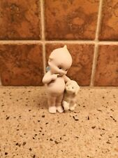 VTG BISQUE PORCELAIN ROSE ONEILL BLUE WINGED KEWPIE FIGURINE with DOG Jesco 1991