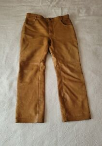 Mens Motorcycle Pants Heavy Duty Leather Approx 36x29 Camel / Light Brown