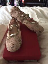 Valentino Nib Ballet Flat 9.5 Pale Pink Lace Rockstud Mary Jane Flat womans shoe