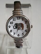 Silver finish good luck  fashion Elephant/White dial women's cuff bangle watch