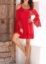 Vestito Donna Mini Abito Manica con Pizzo Woman Mini Dress Lace Sleeves 110276 P