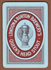 Playing Cards 1 Swap Card Vintage Wide LONDON BURTON BREWERY Queen's Head Stout