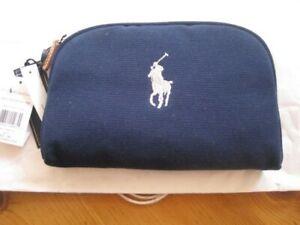 Ralph Lauren small navy canvas cosmetic case / bag